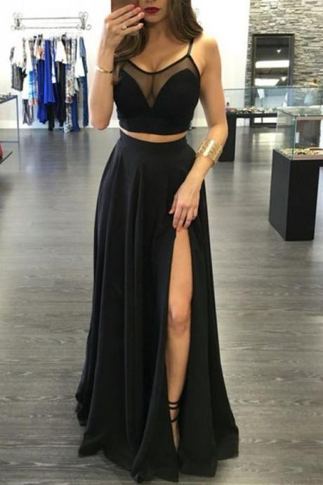 2 pieces prom dress side slit prom Dress,long prom dress,party dresses,Prom Gown