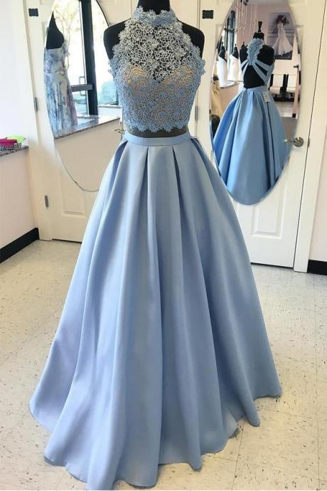 LIGHT BLUE LACE PARTY DRESSES HIGH NECK BACKLESS PROM DRESS EVENING GOWNS