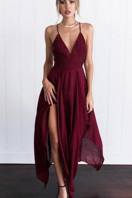 2017 Custom Made Charming Burgundy Prom Dress,Spaghetti Straps Evening Dress,Side Slit Party Dress on Luulla
