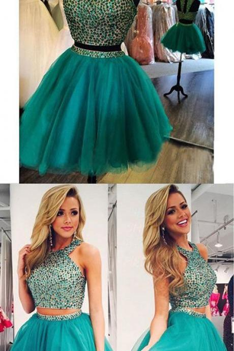 Green Homecoming Dress,Chiffon Homecoming Dresses,Chiffon Homecoming Dress,Backless Party Dress,Open on Luulla