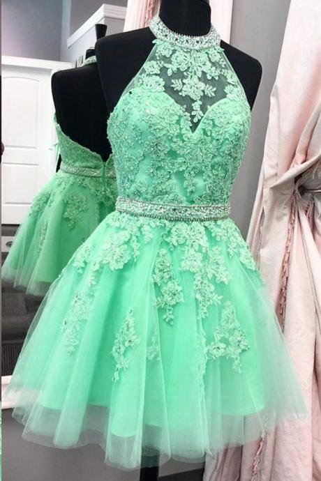 Halter Homecoming Dress,tulle Homecoming Dress,short Prom Dresses 2017,lace Homecoming Dress,elegant on Luulla