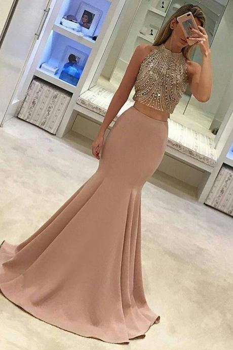 Two Piece Prom Dress, 2017 Prom Dress, Mermaid Long Prom Dress, Gorgeous Formal Evening Dress on Luulla