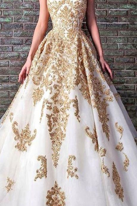 White And Gold Lace Ball Gown,A-line Sweetheart Long Prom Dress,evening Dress on Luulla