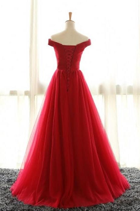 Full Length Off Shoulder Sleeves Red Bridesmaid Dresses, Tulle Prom Dress, Long Prom Dress, Woman Ev on Luulla