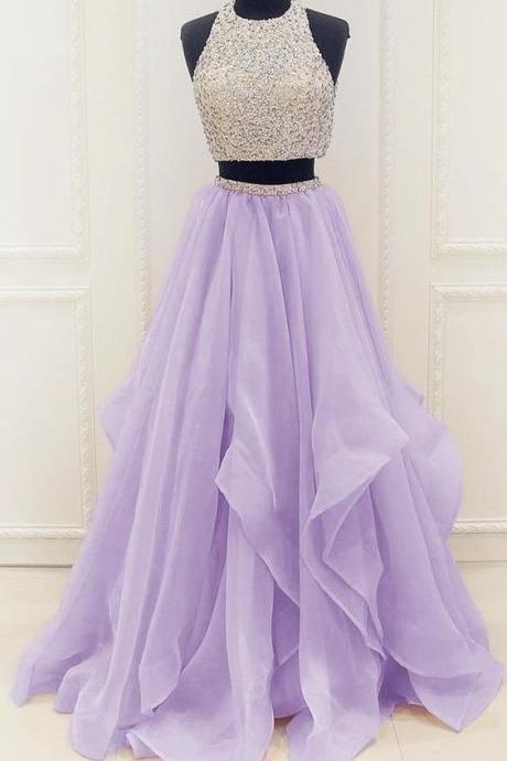 Elegant Homecoming Dress,Long Beaded Prom Dress,Sleeveless Two Piece Prom Dresses,Sexy Prom Gown,Evening Party Dress 107 on Storenvy