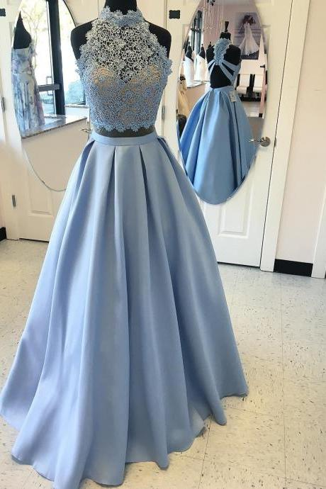 Two Piece Sky Blue Prom Dress, 2017 Two Piece Sky Blue Long Prom Dress on Luulla