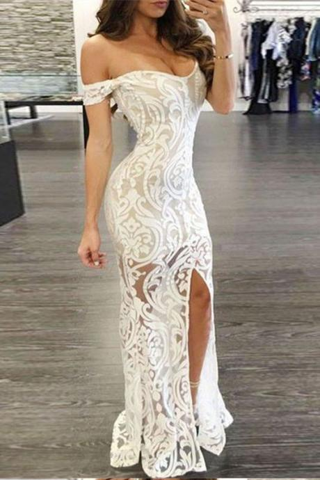 Sheath Lace Off-Shoulder Prom Dress,Long Formal Dress,Lace Evening Gown with Split