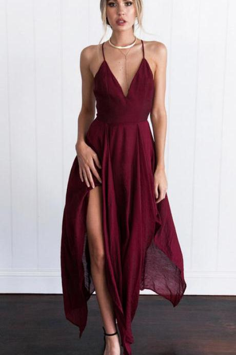 Sexy Straps V-neck Long Burgundy Chiffon Prom Dress Homecoming Dress on Luulla