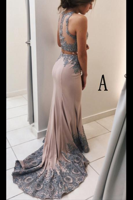 Lace Prom Dresses,Appliqued Prom Dress,2 Pieces Prom Dresses,Mermaid Prom Dresses,Sweep Train Two Pi on Luulla