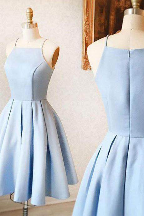 Simple Homecoming Dresses,A-line Homecoming Dresses,Spaghetti Straps Homecoming Dresses,Light Blue H on Luulla