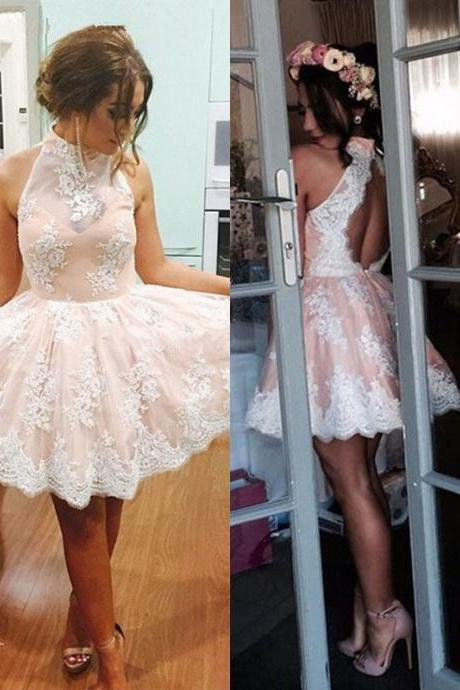 Best A-line Short Prom Dresses, High Neck Lace Homecoming Dresses, Open Back Evening Party Dresses For Cheap, #020102525 on Storenvy