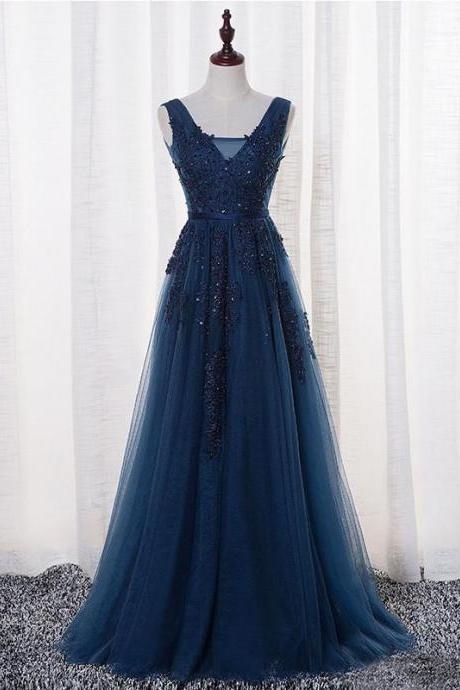 New Arrival A-Line V-Neck Sleeveless Navy Blue Tulle Long Prom Dress on Storenvy