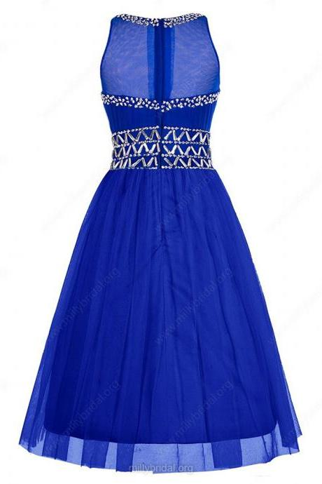 Original A-line Scoop Neck Tulle Knee-length Beading Royal Blue Prom Dresses