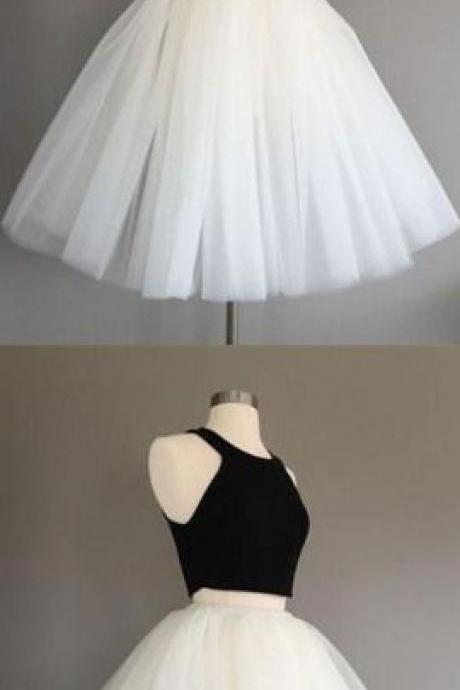 Black and White Homecoming Dresses Ruffles Homecoming Dresses A-Line/Column Homecoming Dresses Round Neck Homecoming Dresses