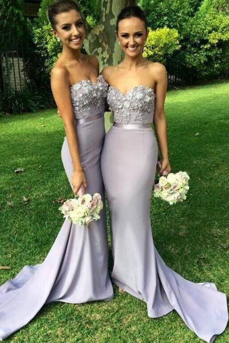 Sweetheart Neckline Wedding Party Dresses Appliques Bridesmaid Dresses Sleeveless Evening Dresses