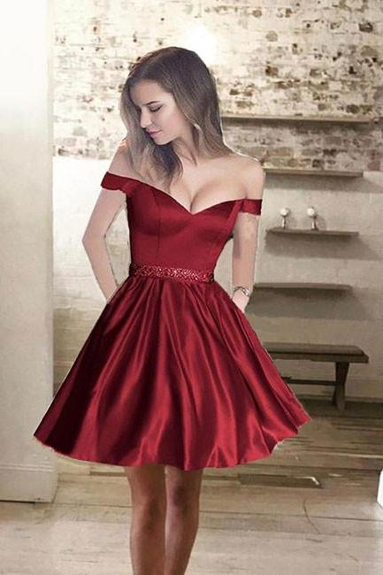 Custom Made Red Satin Off-Shoulder A-Line Homecoming Dress with Beaded Wasitline
