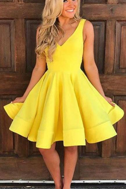 Yellow Homecoming Dresses V Neck Homecoming Dresses Pleats Homecoming Dresses