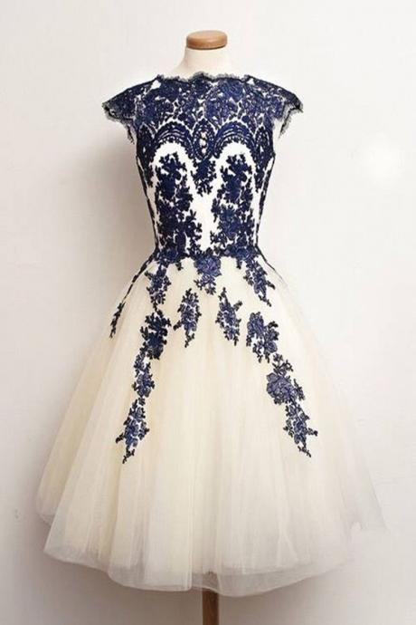 Appliques Homecoming Dresses Knee-length Homecoming Dresses Navy Homecoming Dresses