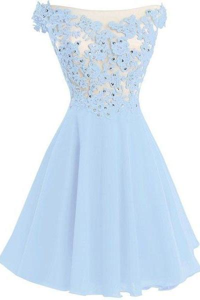 Light Blue Prom Dresses Crystal Beads Ruffle Prom Dresses
