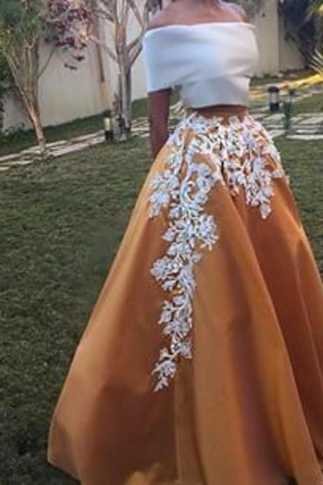 Brown Prom Dresses Off The Shoulder Prom Dresses Ball-Gown Prom Dresses