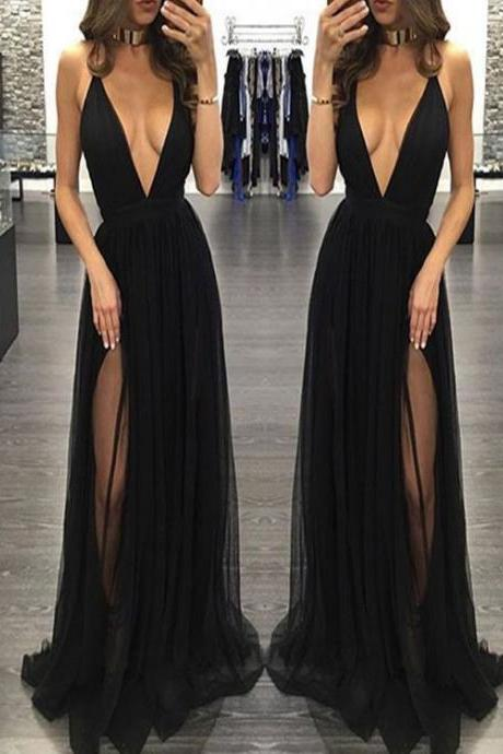 Floor Length Homecoming Dresses Sleeveless Graduation Dresses Deep V Neck Prom Dresses split Prom Dresses