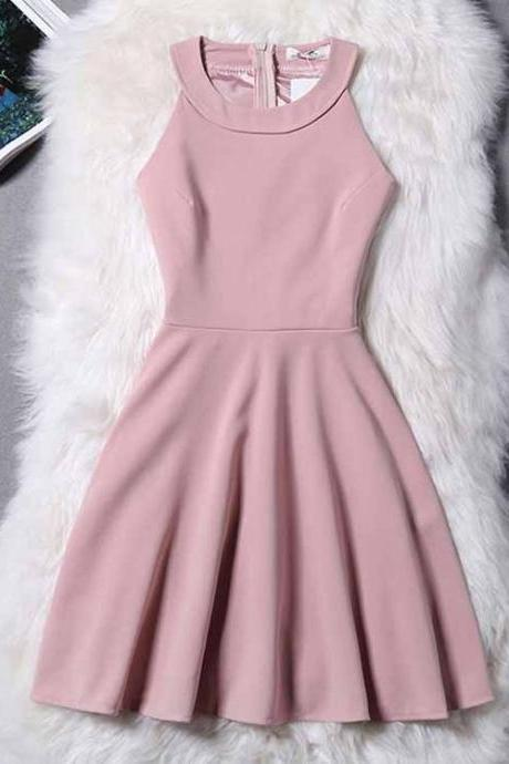Zipper-Up Homecoming Dresses Goffer Cocktail Dresses Sleeveless Prom Dresses Haltered Prom Dresses