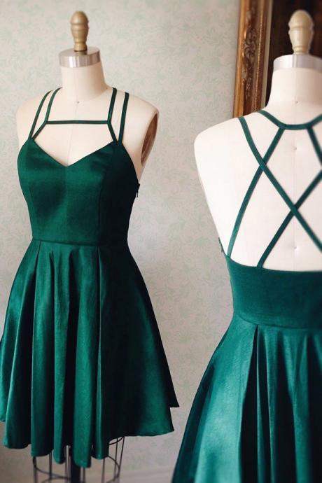 Green Homecoming Dresses Criss-Cross Homecoming Dresses A Line Homecoming Dresses Sleeveless Homecoming Dresses