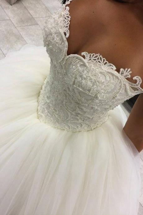 Floor Length Wedding Dresses Sleeveless Wedding Dresses Crystal Beads Ruffle Wedding Dresses