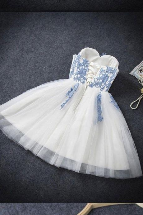 Sweetheart Neckline Prom Dresses Lace-Up Homecoming Dresses White Homecoming Dresses