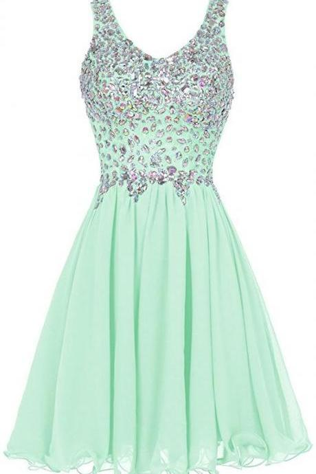 Mint Prom Dresses Crystal Beads Ruffle Prom Dresses Mini Prom Dresses