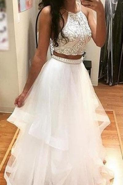 Asymmetry Prom Dresses Tiers Evening Dresses Sleeveless Prom Dresses Sheer Back Evening Dresses