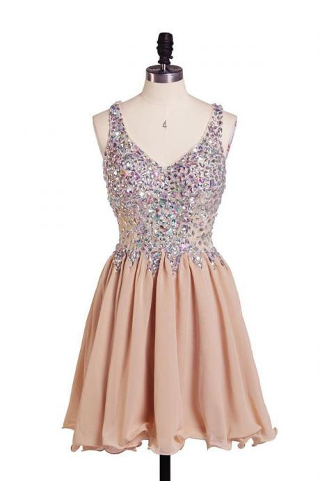 Champagne Homecoming Dresses Mini Homecoming Dresses A-Line/Column Homecoming Dresses