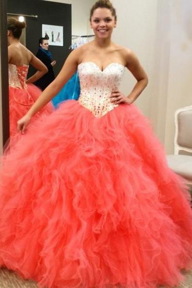 Prom Dresses 2017 Sweetheart Beading Ball Gown Tulle