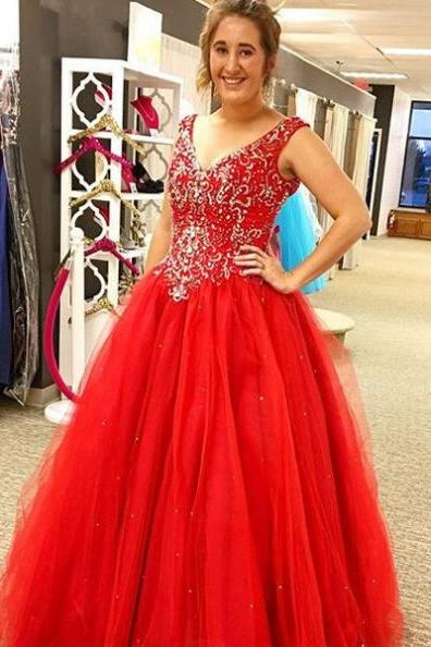 Red V-Neck Beading Ball Gown Tulle Prom Dresses 2017