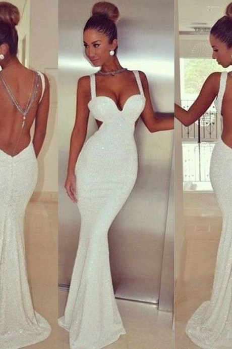White Sequined Straps Sheer Back Mermaid Prom Dresses 2017