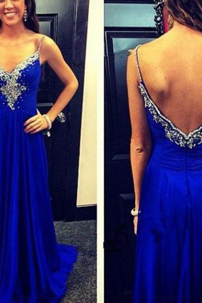 Blue Spaghetti Straps Appliques Backless Sweep Train A-line Prom Dresses 2017