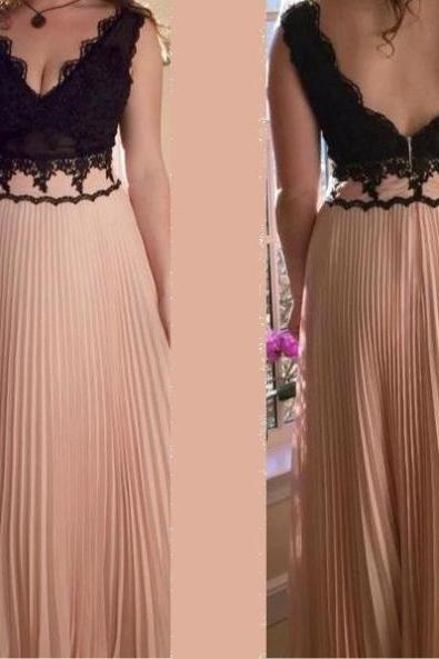 Lace Pleated A-line Chiffon Prom Dresses 2017