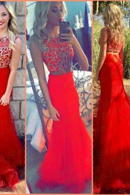 Red Appliques Sweep/Brush Train Trumpet/Mermaid Tulle Prom Dresses 2017
