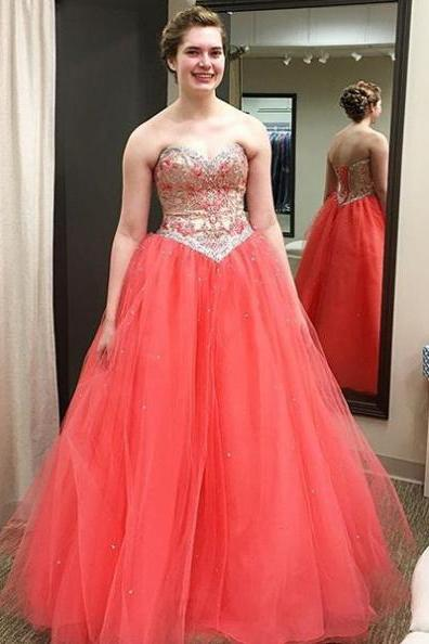 Red Sweetheart Lace Up Beading Ball Gown Tulle Prom Dresses 2017
