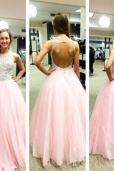 Beading Backless Ball Gown Tulle Prom Dresses 2017