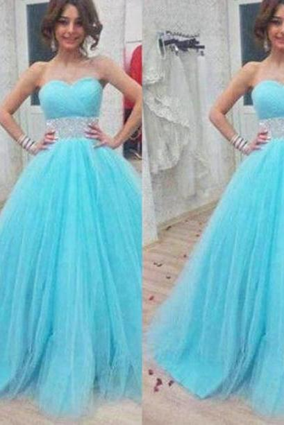 Blue Beading Sweetheart Ball Gown Tulle Prom Dresses 2017