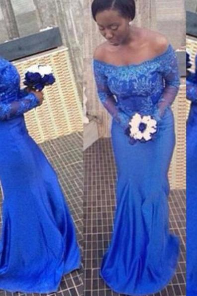Blue Long Sleeves Off-the-Shoulder Appliques Sheath Prom Dresses 2017
