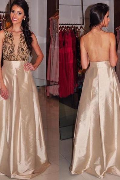 Prom Dresses 2017 Round Neck Sheer Back Beading A-line Satin