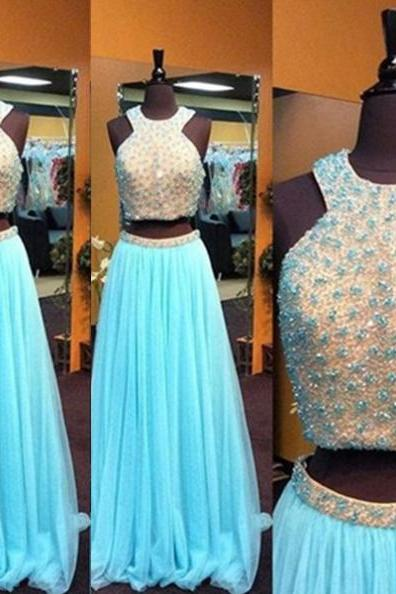 Blue Long A-Line Beading Two Pieces Tulle Prom Dresses 2017
