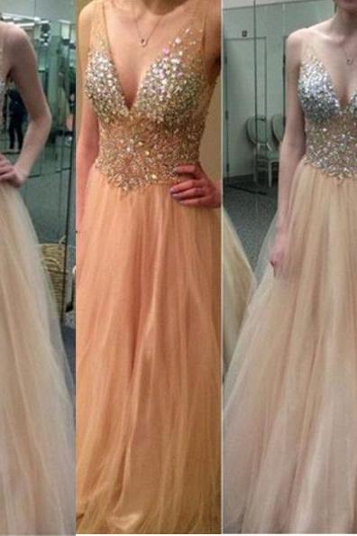 Long Princess V-Neck Sequins Tulle Prom Dresses 2017