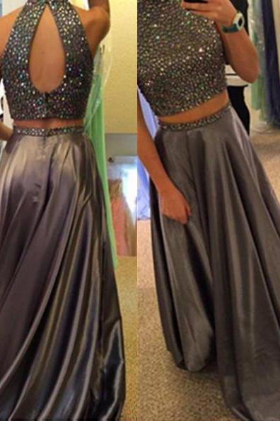 Long A-line High Neck Two Pieces Satin Prom Dresses 2017