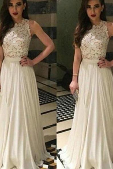 White Long A-Line Sleeveless Appliques Chiffon Prom Dresses 2017