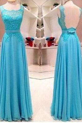 Blue Sheath/Column Straps Sleeveless Natural Backless Floor-Length Chiffon Prom Dresses 2017