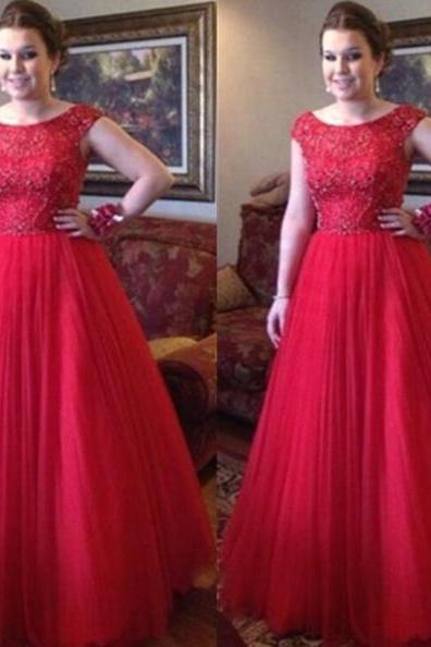 Red Long A-Line Scoop Zipper Tulle Prom Dresses 2017