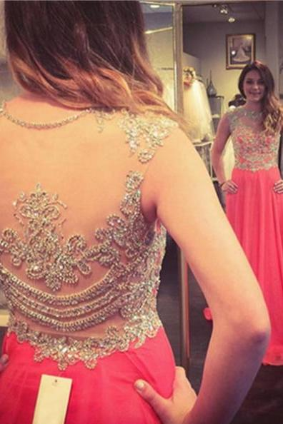 Red Illusion Beading Chiffon Prom Dresses 2017